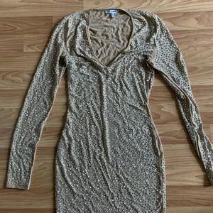 Fashion Nova Bodycon Nude Rhinestone Dress